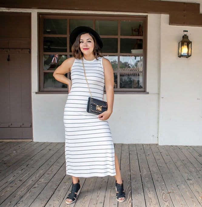 White Striped Sleeveless Ribbed Maxi Dress