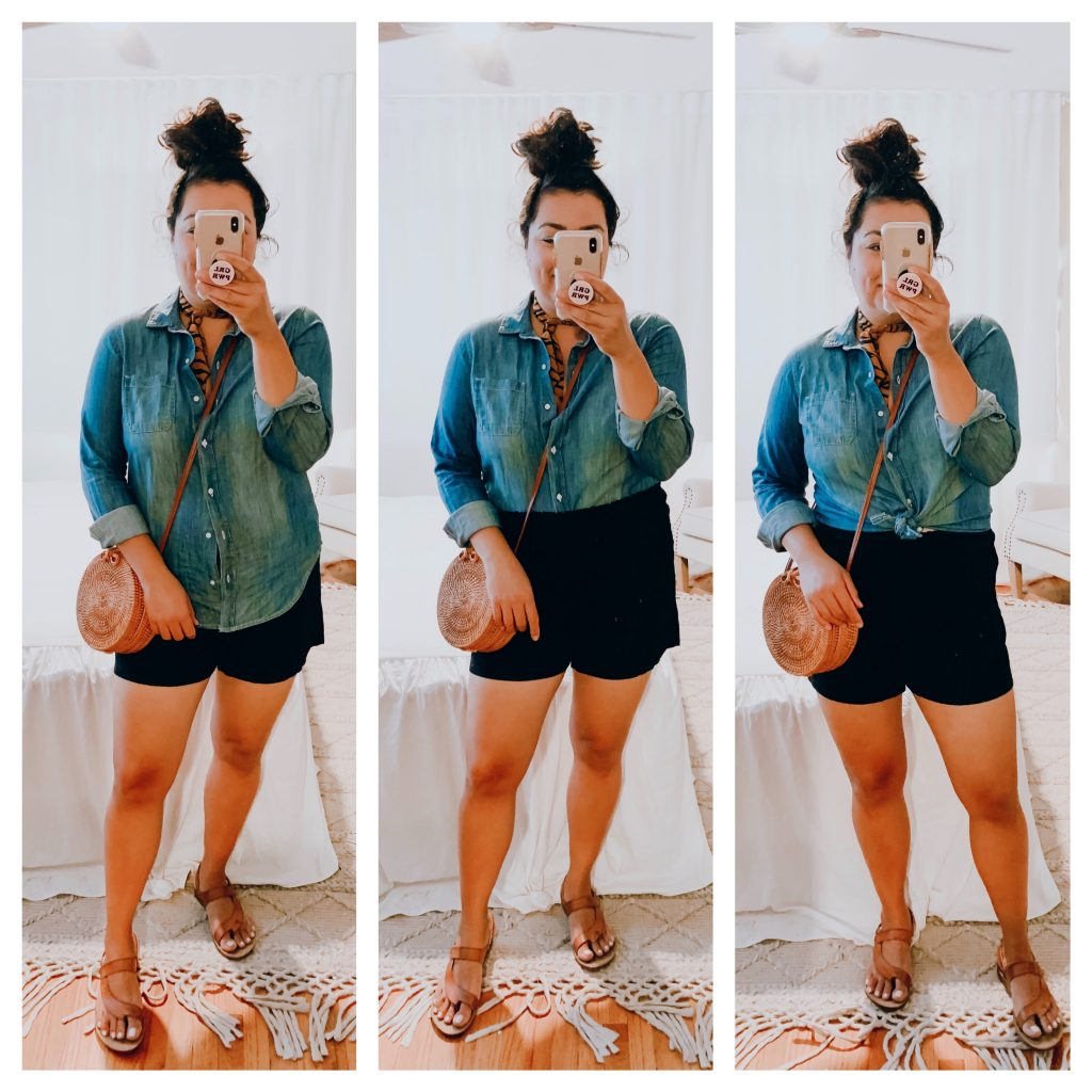 girl wearing pull on black shorts and chambray shirt outfit