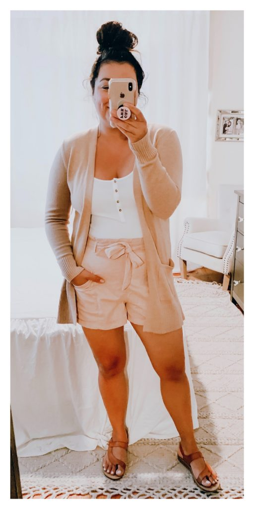 Girl wearing paper bag pull on shorts with chambray top outfit